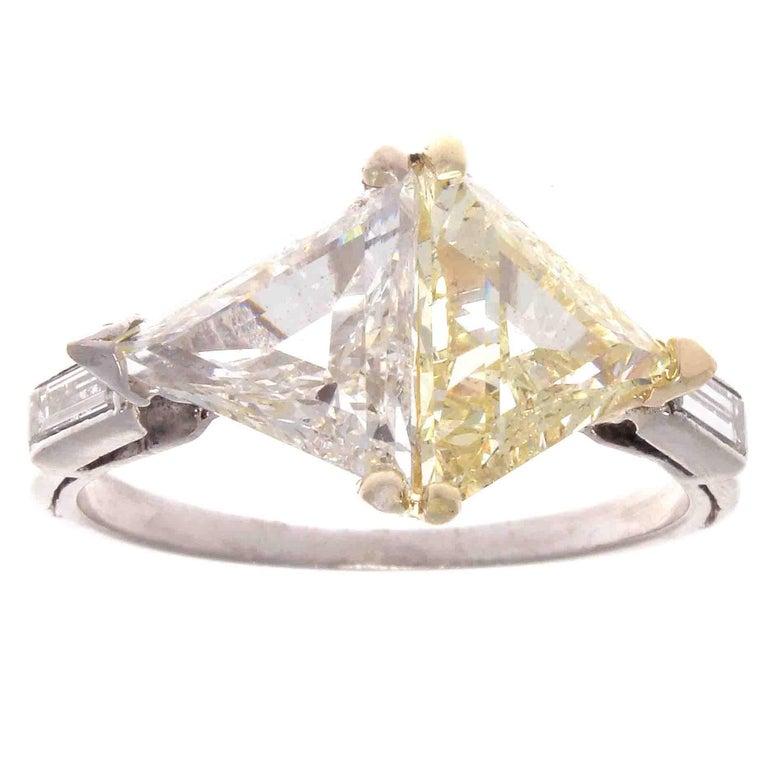 Matching 1.40 Carat GIA Triangular Step Cut Diamond Platinum Ring