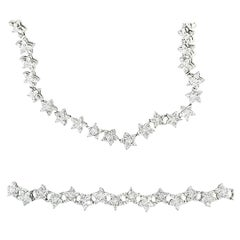 Matching Custom Cut Star Shape Diamond Bracelet and Necklace