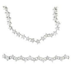 Matching Custom Cut Star Shape Diamond Bracelet and Necklace