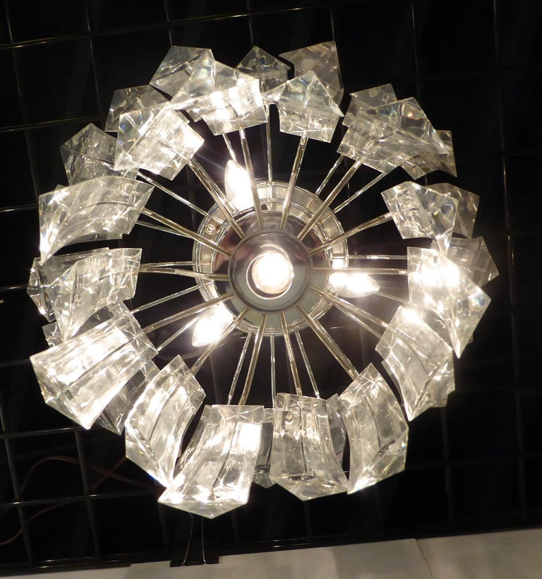 Matching Modern Two-Tier Lucite Flush Mount Lights For Sale 3