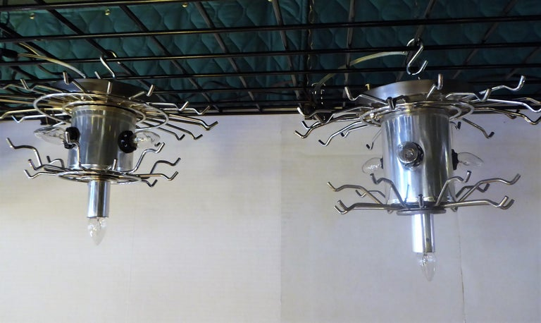 Matching Modern Two-Tier Lucite Flush Mount Lights For Sale 4