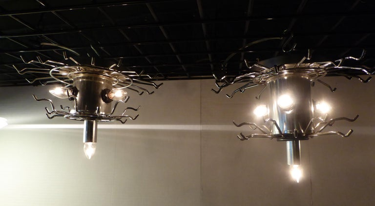 Matching Modern Two-Tier Lucite Flush Mount Lights For Sale 5