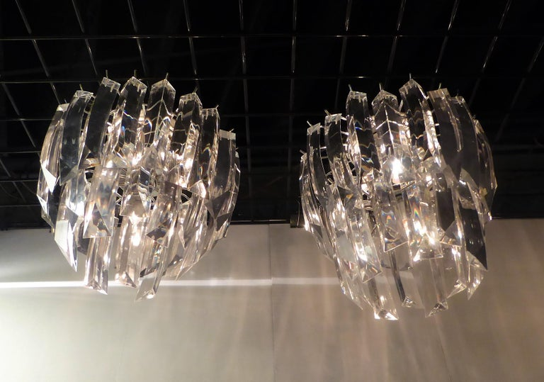 American Matching Modern Two-Tier Lucite Flush Mount Lights For Sale