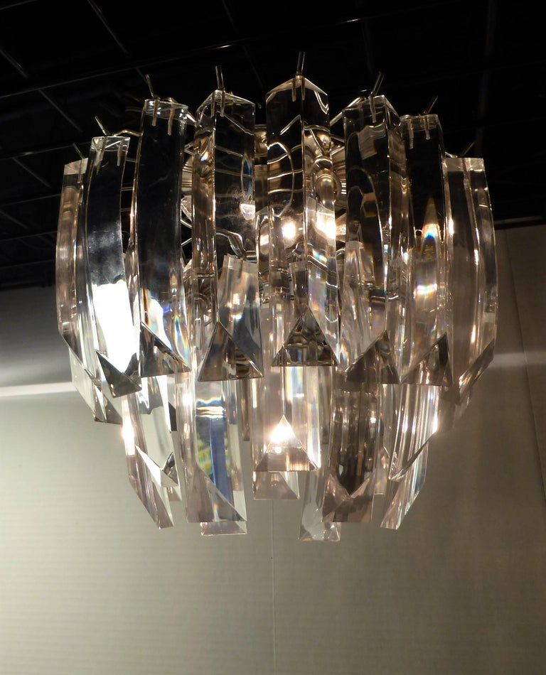 Late 20th Century Matching Modern Two-Tier Lucite Flush Mount Lights For Sale