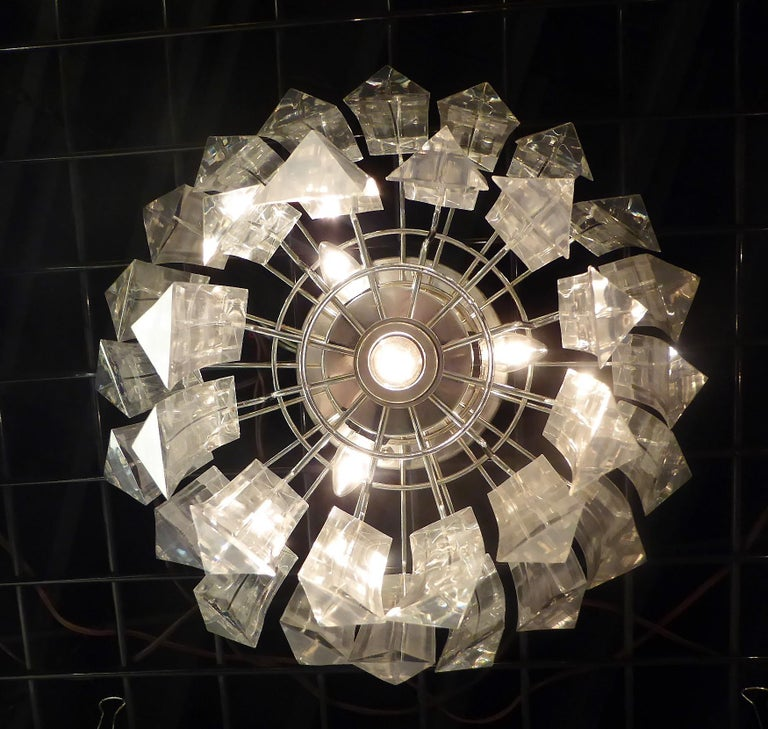 Metal Matching Modern Two-Tier Lucite Flush Mount Lights For Sale