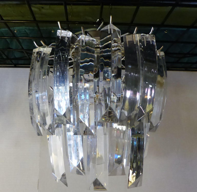 Matching Modern Two-Tier Lucite Flush Mount Lights For Sale 1