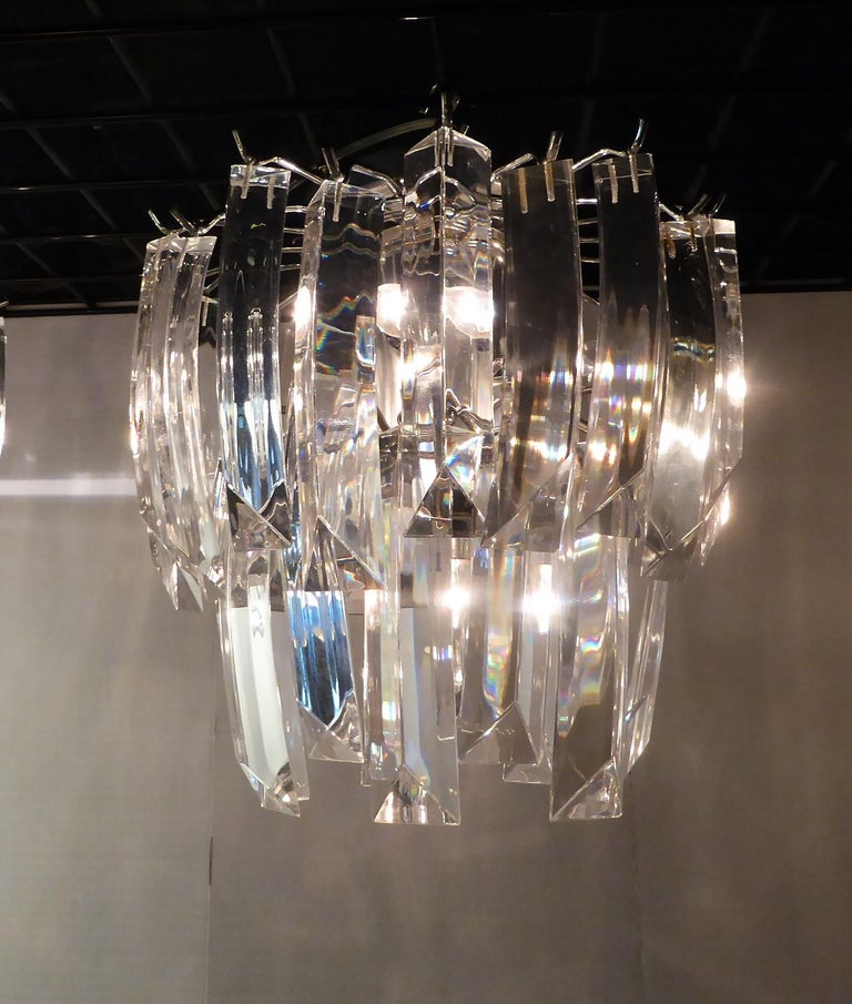 Matching Modern Two-Tier Lucite Flush Mount Lights For Sale 2