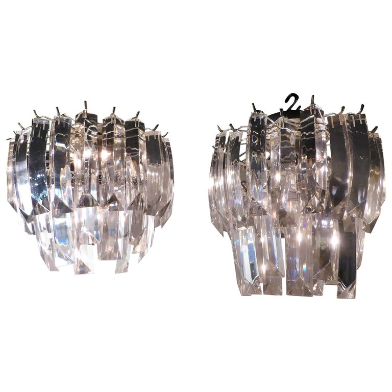 Matching Modern Two-Tier Lucite Flush Mount Lights For Sale