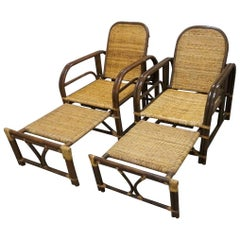 Matching Pair of Art Deco Style 1960s Bamboo Lounge Chairs