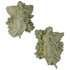 Matching Pair of Italian Angel Wall Sculptures/Wall Pockets