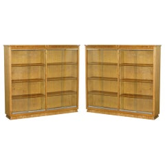Matching Pair of English Oak Library Study Bookcases with Glazed Doors