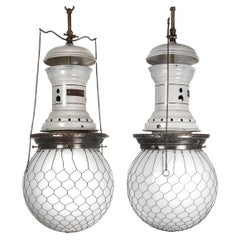 Matching Pair of 1800s Electrified Arc Lamps by Solar