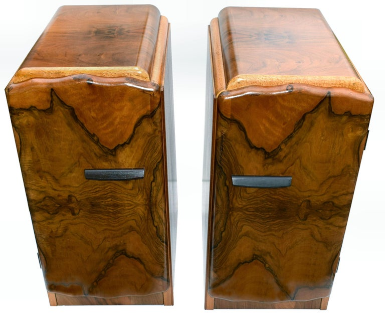 Matching Pair Of 1930s Art Deco Walnut And Maple Bedside