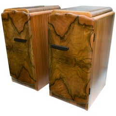 Matching Pair of 1930s Art Deco Walnut And Maple Bedside Tables