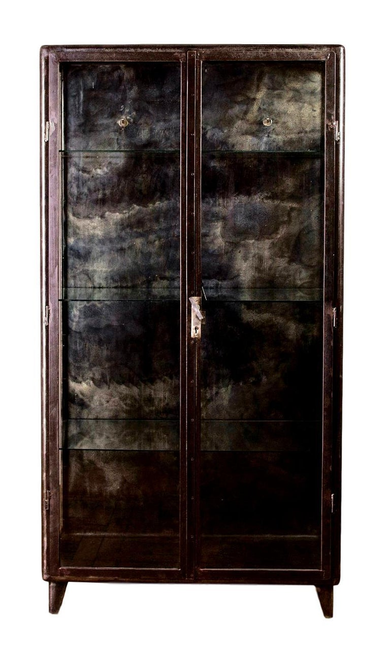 Belgian 1930s Iron and Glass Vitrine from Belgium For Sale