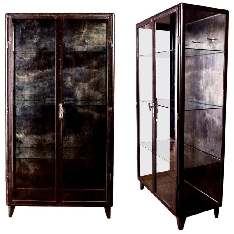 1930s Iron and Glass Vitrine from Belgium For Sale