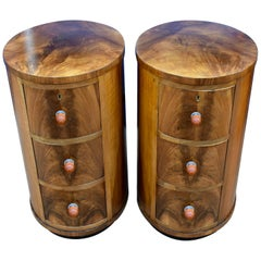 Matching Pair of Art Deco Oval Shaped Bedside Cabinet Tables, circa 1930