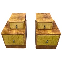 Matching Pair of Art Deco Stepped Bedside Nightstands, circa 1930s, England