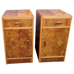 Matching Pair of Art Deco Walnut Bedside Cabinets, circa 1930