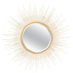 Matching Pair of Beaded Starburst Four Feet Diameter Mirrors