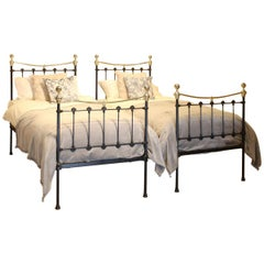 Matching Pair of Black Antique Beds MPS39