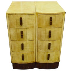 Matching Pair of Bleached Blonde Art Deco Nightstand Cabinets