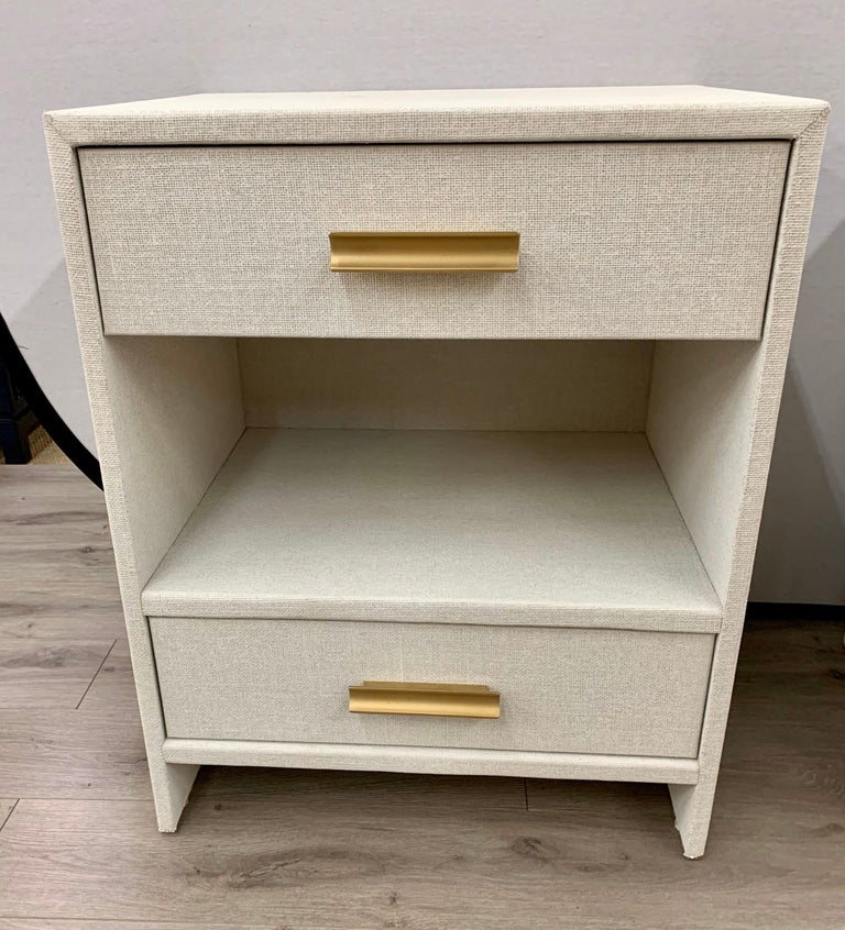 Matching Pair of Custom Linen Wrapped Two-Drawer Nightstands For Sale 4
