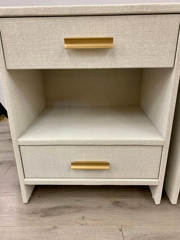 Mid-Century Modern Matching Pair of Custom Linen Wrapped Two-Drawer Nightstands For Sale