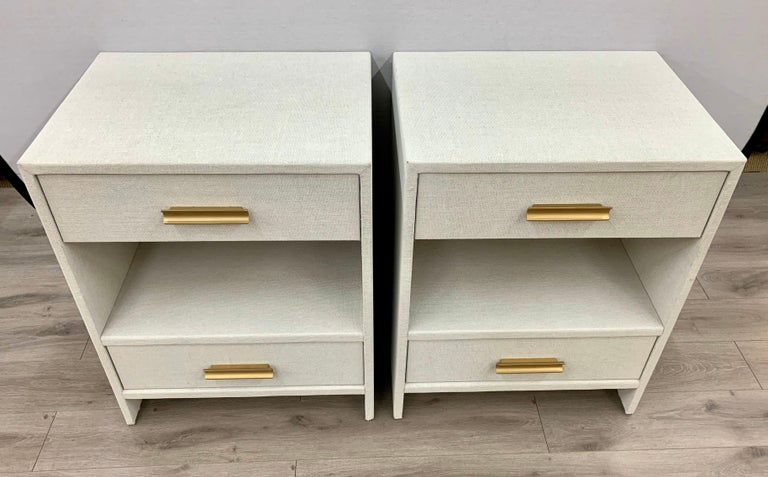 Matching Pair of Custom Linen Wrapped Two-Drawer Nightstands In Excellent Condition For Sale In West Hartford, CT