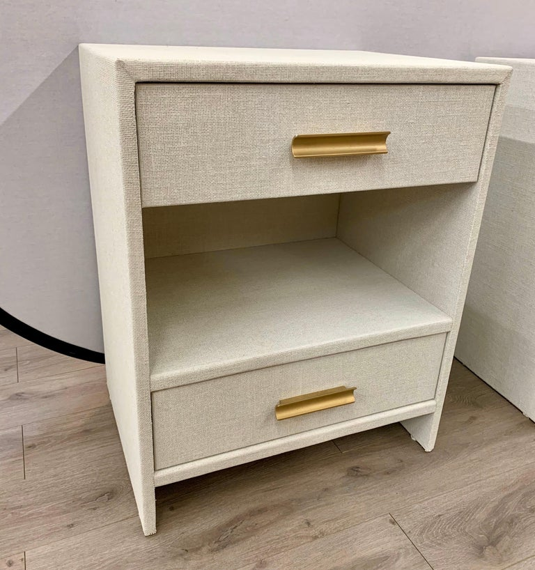 Matching Pair of Custom Linen Wrapped Two-Drawer Nightstands For Sale 2
