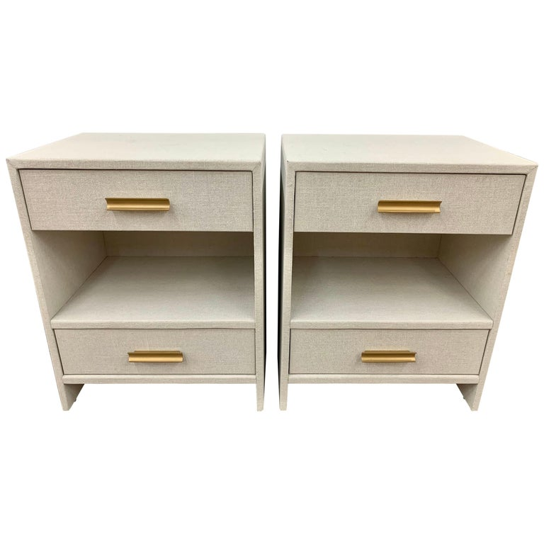 Matching Pair of Custom Linen Wrapped Two-Drawer Nightstands For Sale
