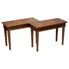 Matching Pair of David Linley 1993 Stamped Burr Walnut Console Tables 2