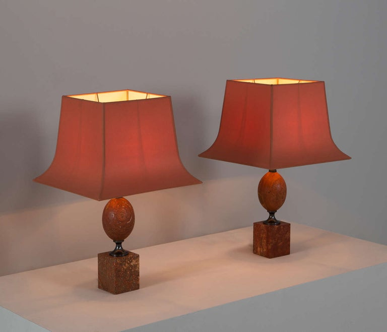 Mid-Century Modern Matching Pair of Elegant Lights by Maison Barbier in Rare Red Travertine For Sale