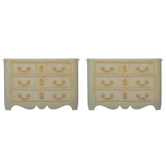 Matching Pair of Italian Ivory White Lacquer Commodes or Chests with Gold Leaf