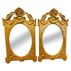 Matching Pair of Italian Neoclassical Gilt Gold Mirrors