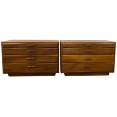 Matching Pair of John Kapel Mid-Century Modern Walnut Dressers