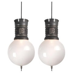 Matching Pair of Large Globe Castle Lights