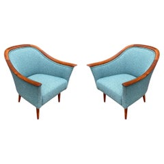 Matching Pair of Mid Century Danish Modern Lounge Chairs in Teak & Sage Tweed