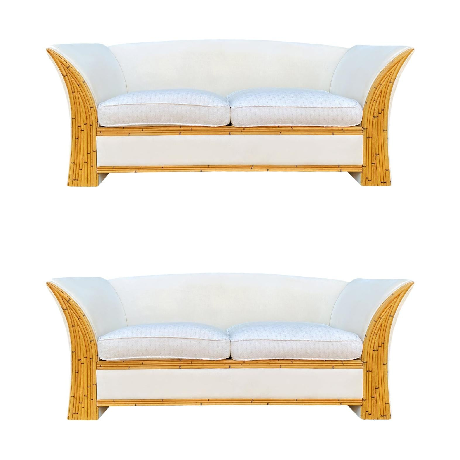 Matching Pair of Mid-Century Modern Bamboo Reed & White Sofas or Loveseats