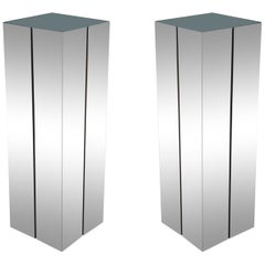 Matching Pair of Mid-Century Modern Illuminated Chrome Pedestal by Neal Small