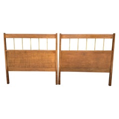 Matching Pair of Mid-Century Modern Paul McCobb Twin Bed Headboards Walnut Brass