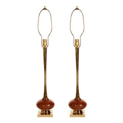 Matching Pair of Mid-Century Modern Tall Walnut and Brass Table Lamps