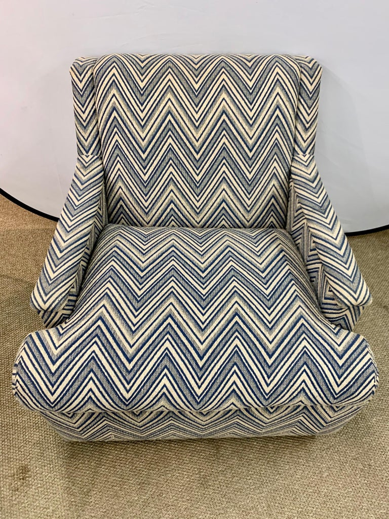 Mid-Century Modern Matching Pair of Mid-Century Newly Upholstered Chevron Armchairs For Sale