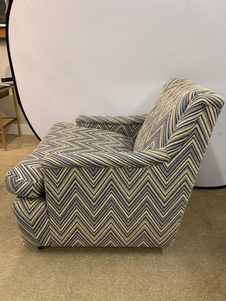 American Matching Pair of Mid-Century Newly Upholstered Chevron Armchairs For Sale