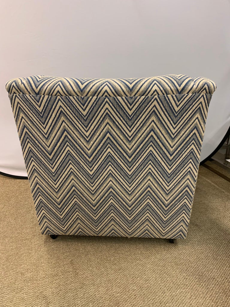 Matching Pair of Mid-Century Newly Upholstered Chevron Armchairs In Good Condition For Sale In West Hartford, CT