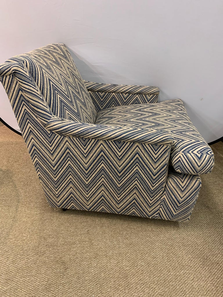 Late 20th Century Matching Pair of Mid-Century Newly Upholstered Chevron Armchairs For Sale