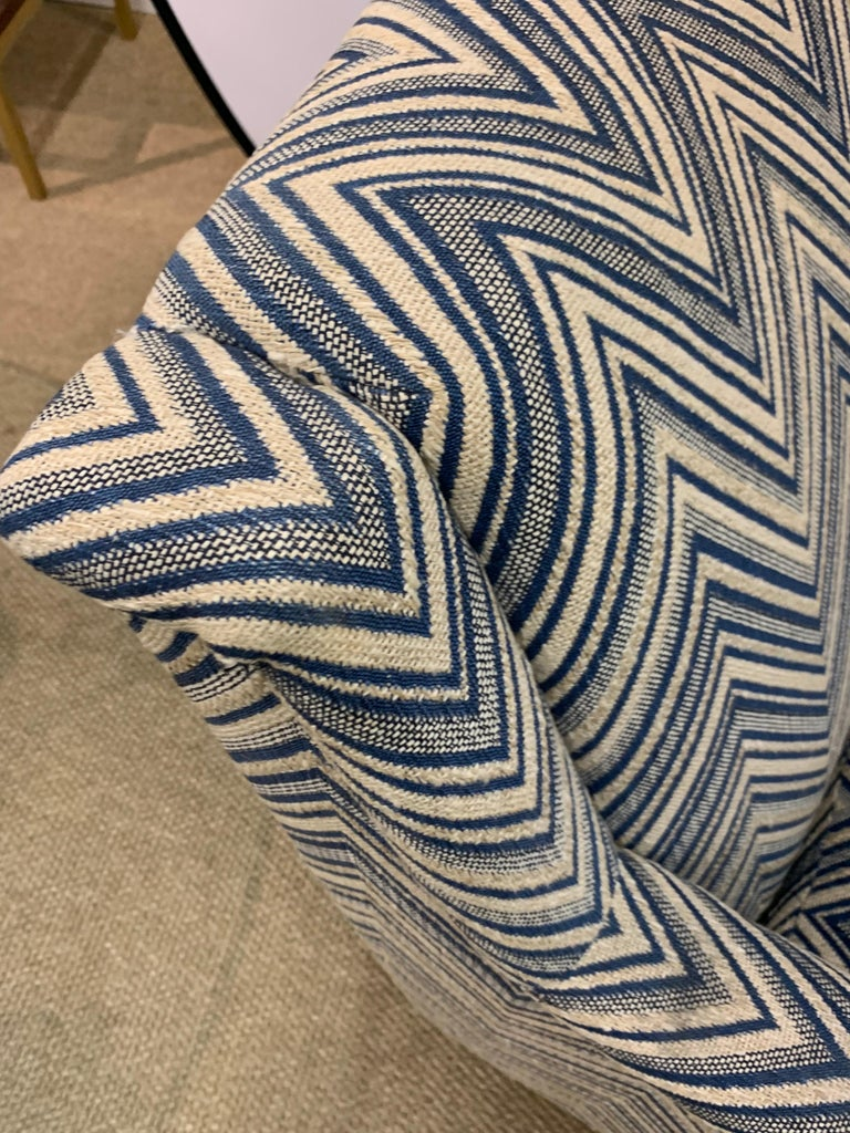 Matching Pair of Mid-Century Newly Upholstered Chevron Armchairs For Sale 1