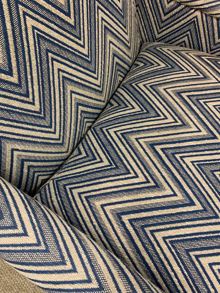 Matching Pair of Mid-Century Newly Upholstered Chevron Armchairs For Sale 2