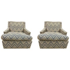 Matching Pair of Mid-Century Newly Upholstered Chevron Armchairs