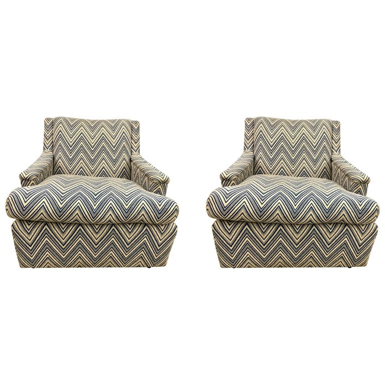 Matching Pair of Mid-Century Newly Upholstered Chevron Armchairs For Sale